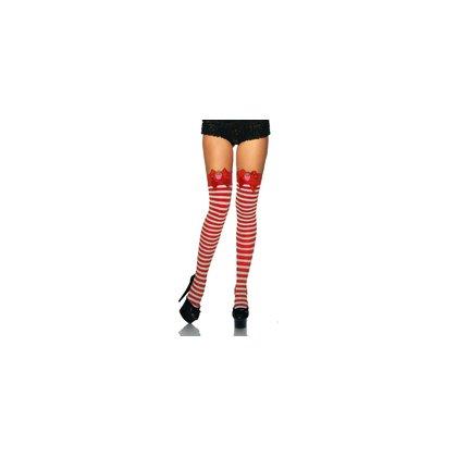 Overknees Rot Weiss Streifen Ringel Schleife Erdbeere Burlesque Pin Up Retro