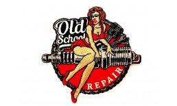 Patch Old School Repair Pin Up Garage Flicken Aufnäher Aufbügeln Bügelbild oldschool