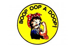 Patch Betty Boop Oop A Doop Rosie The Riveter Flicken Aufnäher Aufbügeln Bügelbild bettigelb2