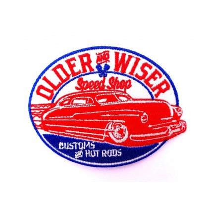 Patch Older And Wiser Speed Shop Customs Hot Rods Flicken Aufnäher Aufbügeln Bügelbild older2
