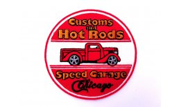 Patch Customs And Hot Rods Speed Garage Chicago Flicken Aufnäher Aufbügeln Bügelbild customs