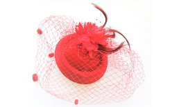 Pillbox Hut Fascinator Rot Schleier Burlesque Vintage Pin Up Ball Abendmode IMG_20210322_135816