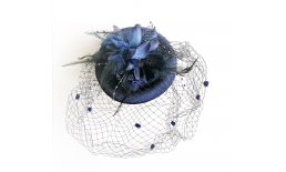 Pillbox Hut Fascinator Blau Schleier Burlesque Vintage Pin Up Ball Abendmode IMG_20210322_135539