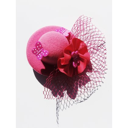 Minihut Fascinator Schleier Schmetterling Pink Burlesque Rockabilly Pin Up 20180419_094838