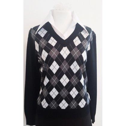 innovative design e03d1 faaa6 Pullover Karo schwarz Raute Strick Klassisch Oldschool Retro Vintage