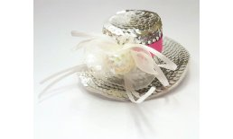 Fascinator Minihut Pailetten Silber Pink Party Rockabilly Ball Burlesque Pin Up Abendmode Vintage silvester